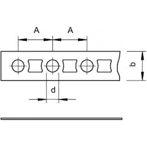 Лента монтажная перфорированная 17х1мм 5055 II17 FS OBO 1470175