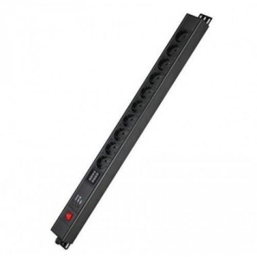 Блок распределения питания вертикальный для 19дюйм шкафов, 16A10 Х Shuko,выключатель, индикация, вх. разъём Schuko