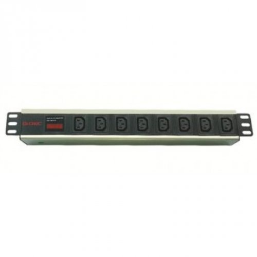 Блок розеток для 19 шкафов, 8 розеток IEC60320 С13, амперметр