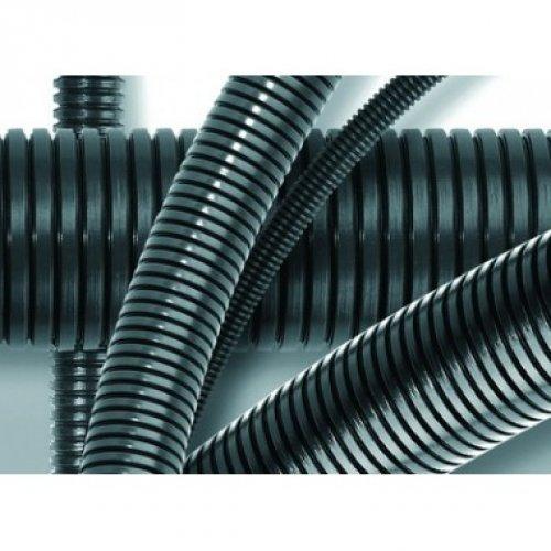 Труба гофрированная DN36мм ПВ-0 Dвн=36.3 мм Dнар=42.5 мм полиамид 6 темно-серая с протяжкой