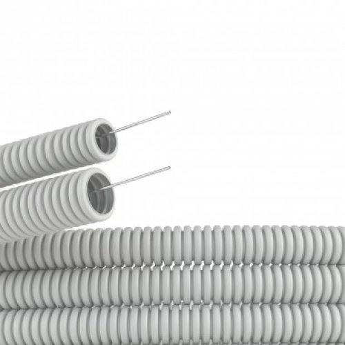 Труба гофрированная ПВХ d25мм тяжелая с протяж. сер. (уп.50м) ДКС 91525