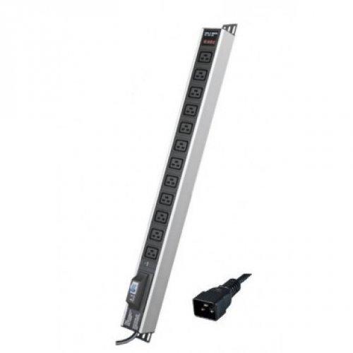 Блок распределения питания вертикальный для 19дюйм шкафов, 16A12 ХIEC60320 C19, автоматический выключатель 1Р, индикатор т