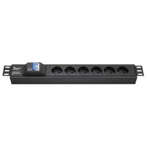 Блок распределения питания для 19дюйм шкафов, 16A 6 Х Shuko,автоматический выключатель 2Р, вх. разъём Schuko