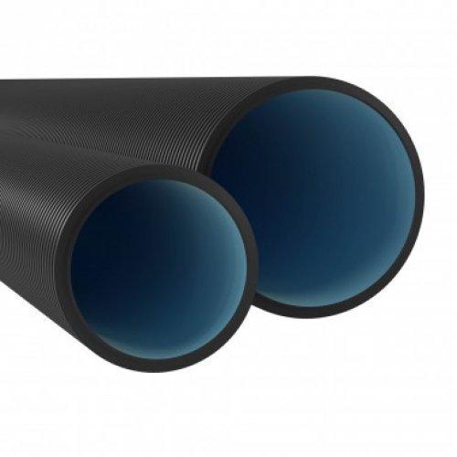 Двустенная труба ПНД жесткая для открытой прокладки д.200мм, SN6, ПВ-0, УФ, без протяжки, 6м, цвет черный