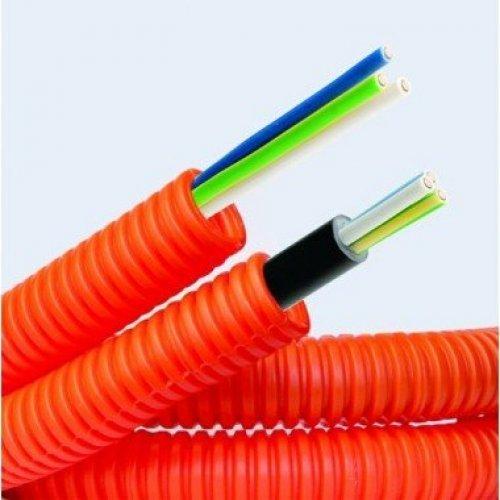 "Труба гофрированная ПНД d16мм с кабелем 1.5х3 ВВГнгLS ""ГОСТ+"" оранж. (уп.50м) ДКС 7L91650"