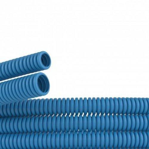 Труба ППЛ гибкая гофрированная д.40мм легкая без протяжки 20м синий