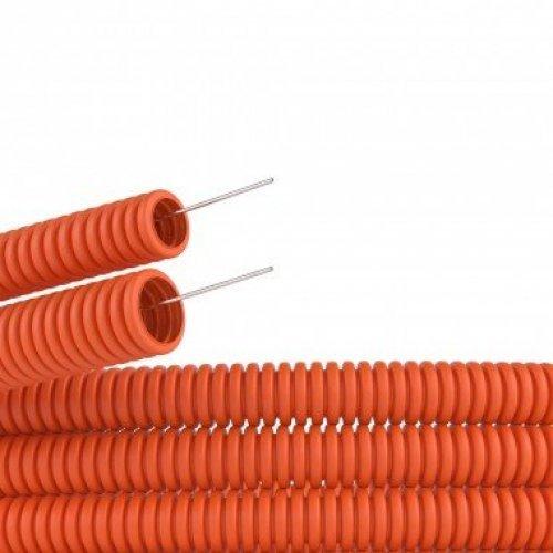 Труба гофрированная ПНД d25мм с протяж. оранж. (уп.50м) ДКС 71925