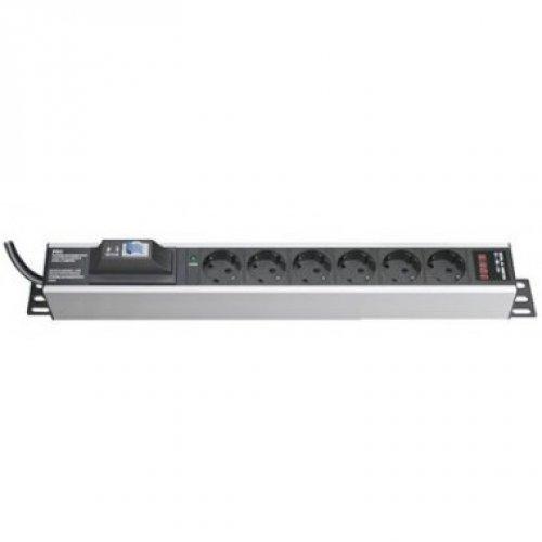 Блок распределения питания вертикальный 19дюйм шкафов, 16A 6 Х Shuko,авт.1Р, индикатор тока вх. разъём Schuko