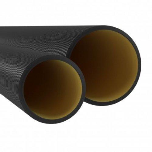 Труба жесткая двустенная для кабельной канализации 6м 10кПа D 125мм черная