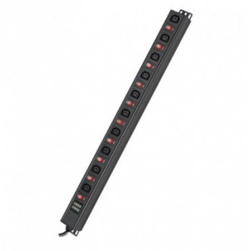 Блок распределения питания вертикальный для 19дюйм шкафов, 10A10 Х С13,защита от перегрузки, индикатор тока, вх. разъём С1