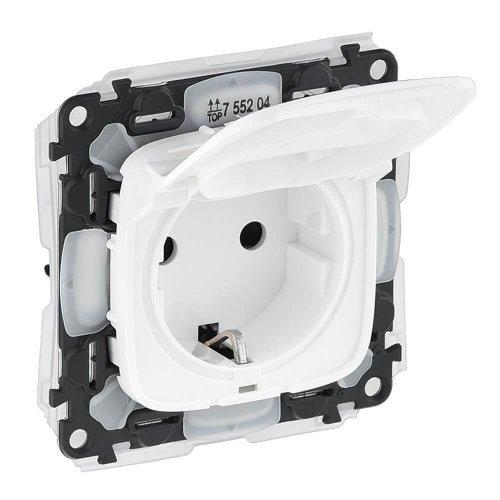 Механизм розетки 1-м СП Valena Allure 16А IP44 250В 2К+З защ. шторки откидная крышка бел. Leg 755204