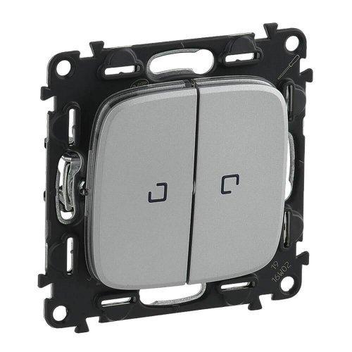 Переключатель 2-кл. СП Valena Allure 10АХ IP20 250В с подсветкой с лиц. панелью алюм. Leg 752909