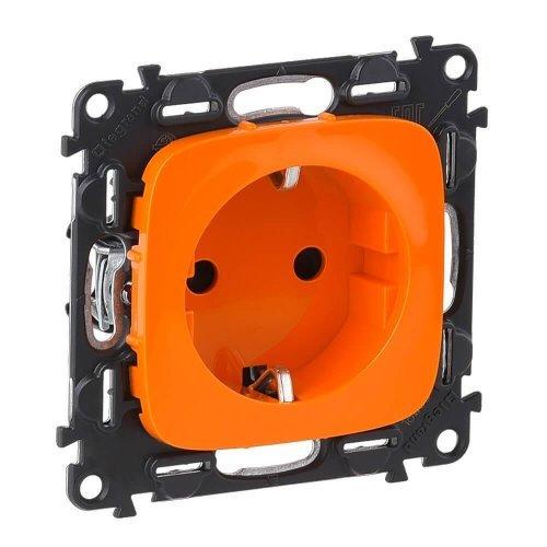 Механизм розетки 1-м СП Valena Allure 16А IP20 250В 2К+З с лиц. панелью защ. шторки безвинт. зажимы оранж. Leg 754981