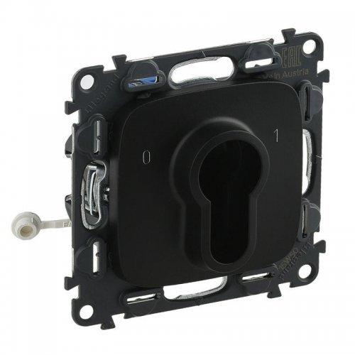 Механизм выключателя 1-кл. СП Valena Allure 10А IP20 230В с ключом 2 положения с лиц. панелью антрацит Leg 755238