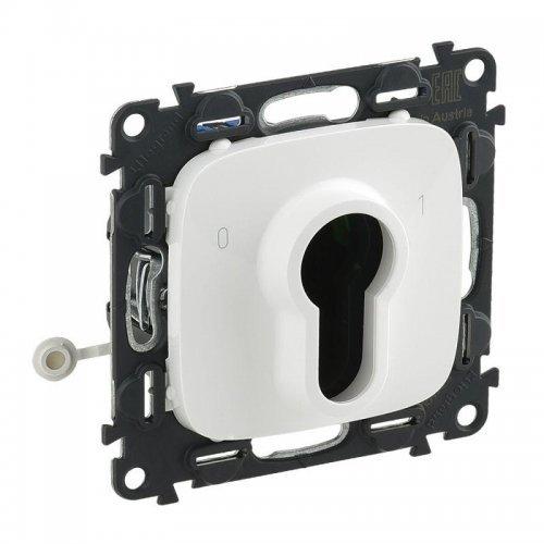 Механизм выключателя 1-кл. СП Valena Allure 10А IP20 230В с ключом 2 положения с лиц. панелью бел. Leg 755235