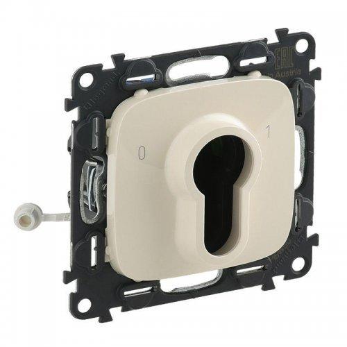 Механизм выключателя 1-кл. СП Valena Allure 10А IP20 230В с ключом 2 положения с лиц. панелью сл. кость Leg 755236