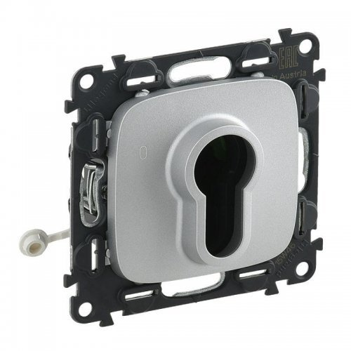 Механизм выключателя 1-кл. СП Valena Allure 10А IP20 230В с ключом 2 положения с лиц. панелью алюм. Leg 755237