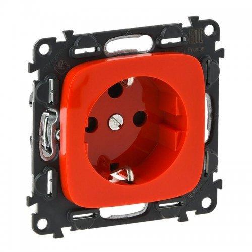 Механизм розетки 1-м СП Valena Allure 16А IP20 250В 2К+З с лиц. панелью с мех. блокировкой защ. шторки безвинт. зажимы красн. Leg 753132