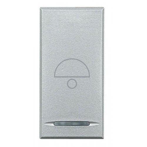 Кнопка 1п (NO) 10А 250В с символом «звонок» Axolute алюм. Leg BTC HC4055B