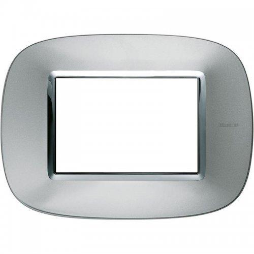 Рамка 3мод. Axolute овальная метализированная; зеркальный алюм. Leg BTC HB4803XC