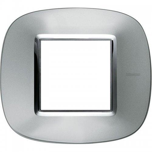 Рамка 2-м Axolute овальная метализированная; зеркальный алюм. Leg BTC HB4802XC