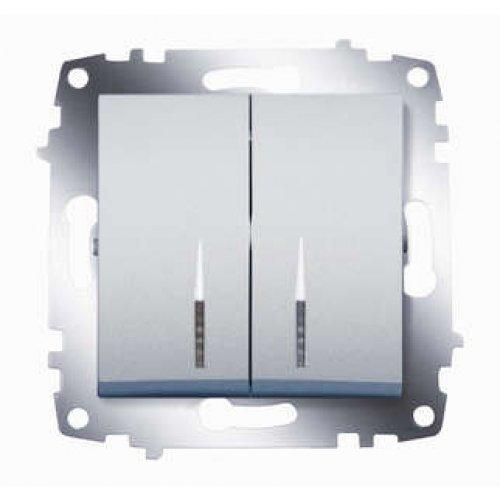 Механизм выключателя 2-кл. СП Cosmo 10А IP20 с подсветкой алюм. ABB 619-011000-203