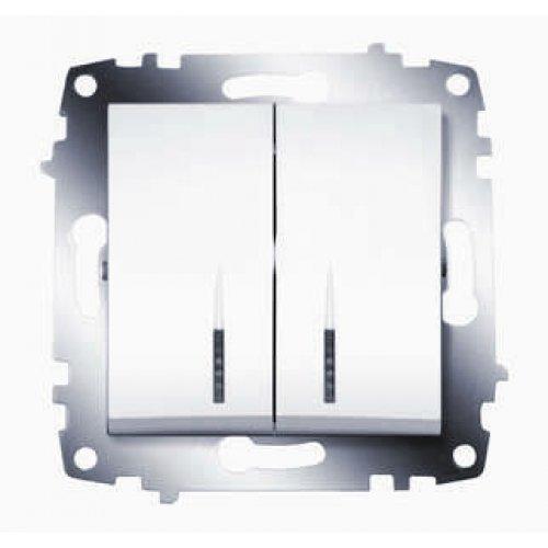 Механизм выключателя 2-кл. СП Cosmo 10А IP20 с подсветкой бел. ABB 619-010200-203
