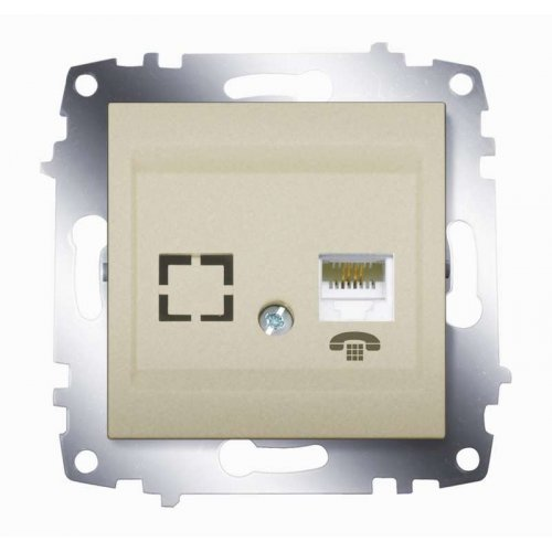 Механизм розетки телеф. 1-м Cosmo (RJ11 + гнездо) титаниум ABB 619-011400-221