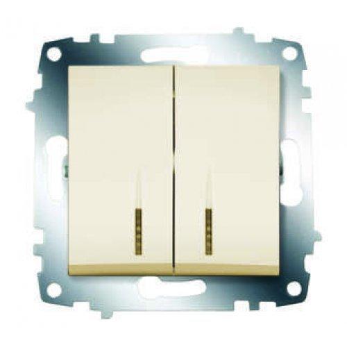 Механизм выключателя 2-кл. СП Cosmo 10А IP20 с подсветкой крем. ABB 619-010300-203