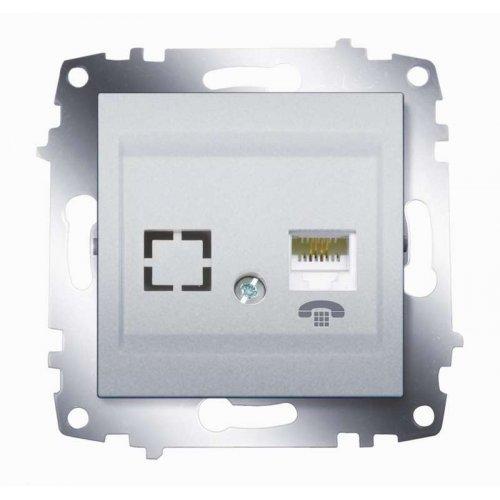 Механизм розетки телеф. 1-м Cosmo (RJ11 + гнездо) алюм. ABB 619-011000-221