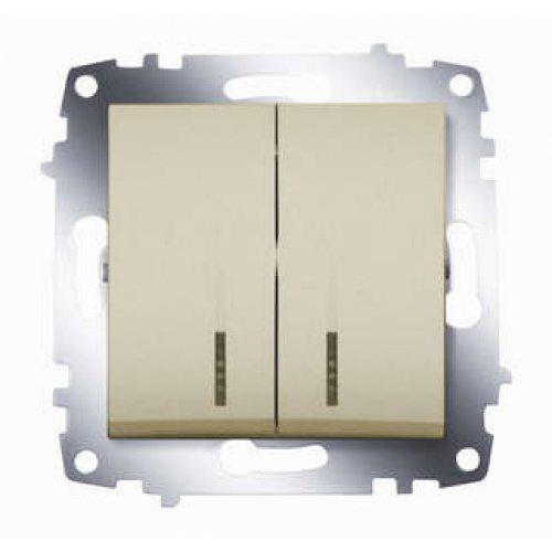 Механизм выключателя 2-кл. СП Cosmo 10А IP20 с подсветкой титаниум ABB 619-011400-203