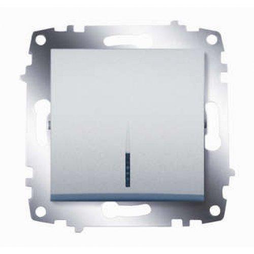 Механизм выключателя 1-кл. СП Cosmo 10А IP20 с подсветкой алюм. ABB 619-011000-201