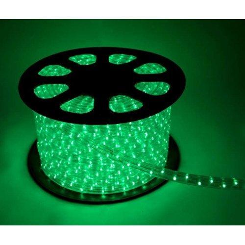 Шнур светодиодный Дюралайт постоянного свечения 2W 220В 1.8Вт/м d13мм (уп.100м) IP44 зел. Космос KOC-DL-2W13-G