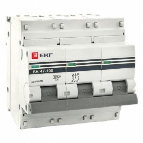 Автоматический выключатель ВА 47-100 3P 16А (D) 10kA EKF PROxima