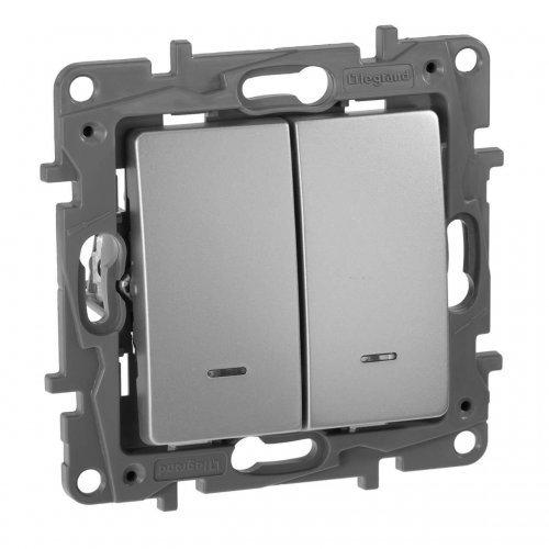 Механизм выключателя 2-кл. СП Etika 10АX с подсветкой / индикацией безвинт. зажимы алюм. Leg 672404