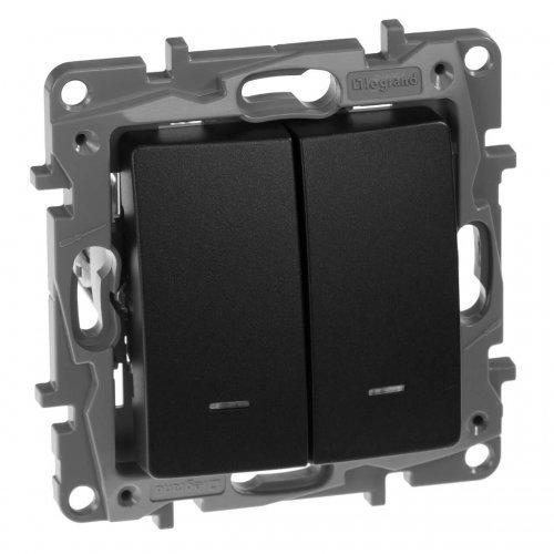 Механизм выключателя 2-кл. СП Etika 10АX с подсветкой / индикацией безвинт. зажимы антрацит Leg 672604
