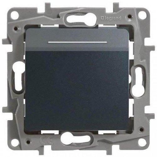 Механизм выключателя карточный 1-кл. СП Etika 2А с выдержкой врем. и подсветкой антрацит Leg 672693