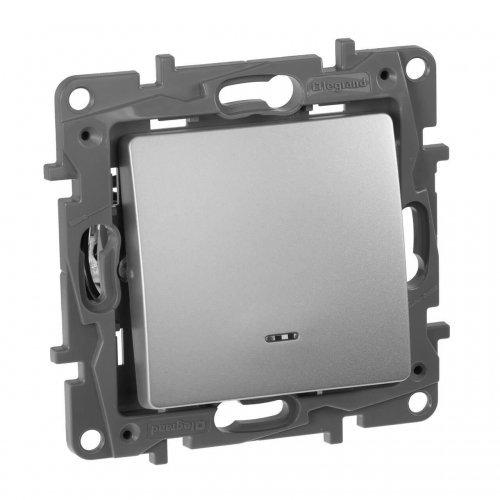 Механизм выключателя 1-кл. СП Etika 10АX с подсветкой / индикацией безвинт. зажимы алюм. Leg 672403