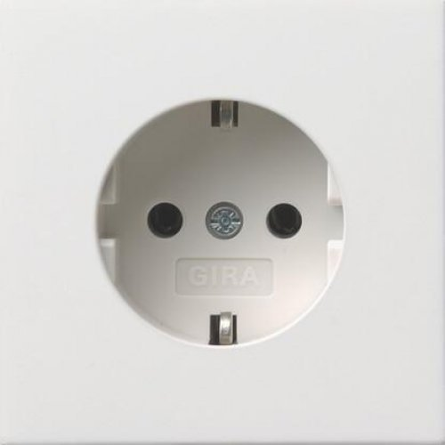 Розетка Gira F100 с/з 16A 250V безвинтовой зажим чисто-белый глянцевый 0188112