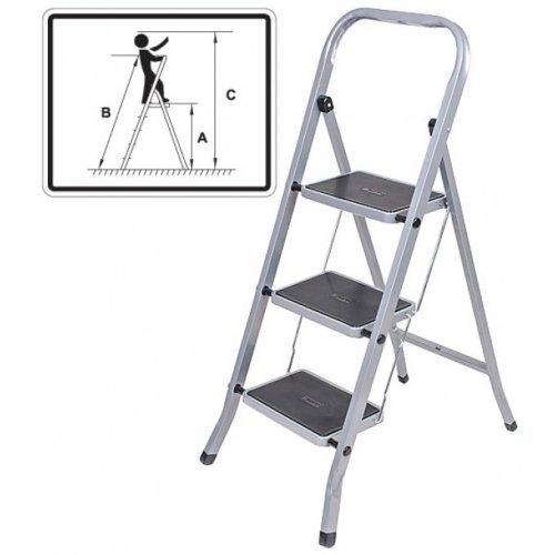 Лестница-стремянка стальная, 3 широкие ступени, A=67см, B=105см, C=267см, вес 4,7 кг