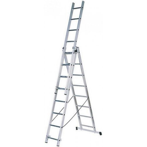 Лестница трехсекционная алюминиевая, 3х7 ступеней, H=202/339/476 см, вес 9,16 кг