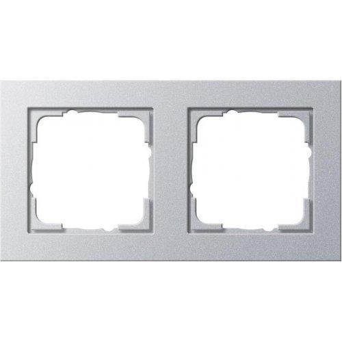 Рамка 2-постовая Gira E2 алюминий 021225
