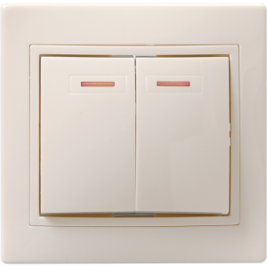 Выключатель 2-кл. СП КВАРТА с инд. 10А IP20 ВС10-2-1-ККм крем. ИЭК EVK21-K33-10-DM