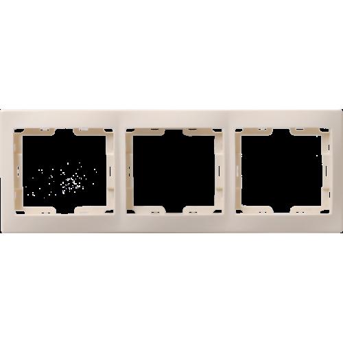 Рамка 3-м КВАРТА РГ-3-ККм горизонт. крем. ИЭК EMK30-K33-DM