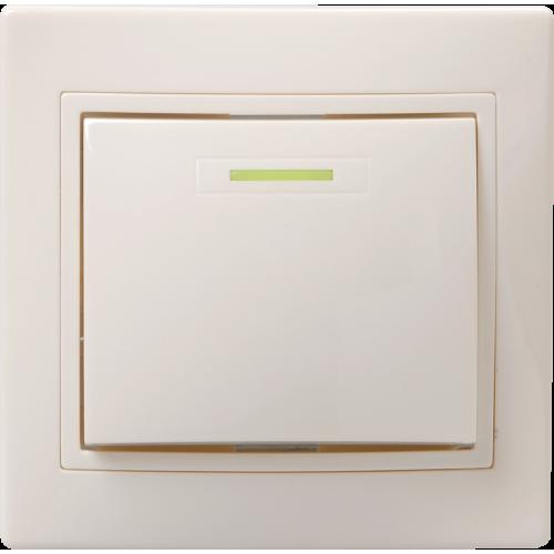 Выключатель 1-кл. СП КВАРТА с инд. 10А IP20 ВС10-1-1-ККм крем. ИЭК EVK11-K33-10-DM