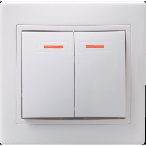 Выключатель 2-кл. СП КВАРТА с инд. 10А IP20 ВС10-2-1-КБ бел. ИЭК EVK21-K01-10-DM