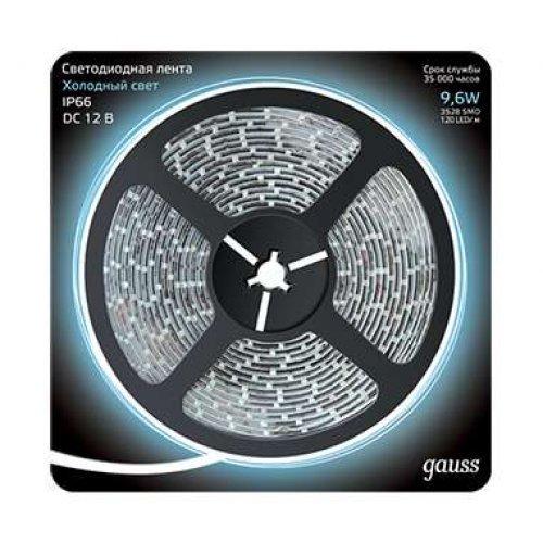 Лента светодиодная 2835/120-SMD 9.6Вт 12В DC холодный бел. IP66 (блистер 5м) Gauss 311000310