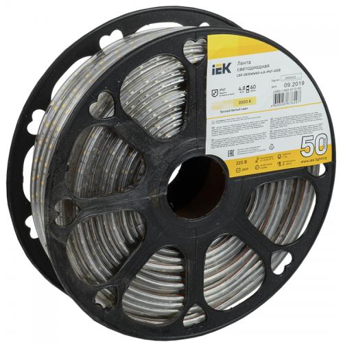 Лента светодиодная LED LSR-2835WW60-4.8-IP67-220В (уп.50м) ИЭК LSR3-1-060-67-0-50