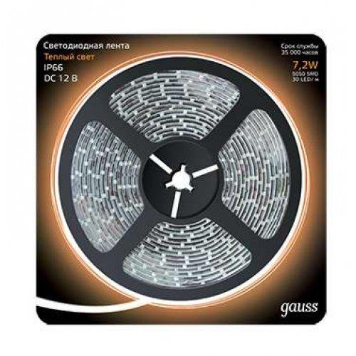 Лента светодиодная 5050/30-SMD 7.2Вт 12В DC теплый бел. IP66 (блистер 5м) Gauss 311000107