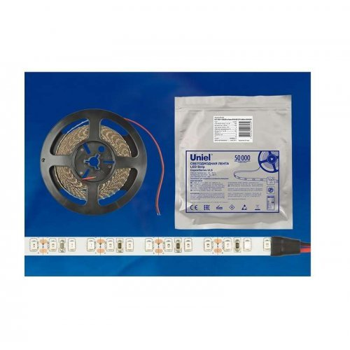 Лента светодиодная герметичная гибкая ULS-2835-60LED/m-8mm-IP65-DC12V-6W/m-5M-DW на самоклеящейся основе свет дневной бел. 6Вт/м (уп.5м) Uniel UL-00000892